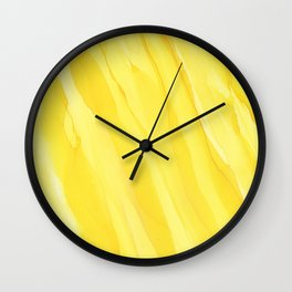 #030 - Monochrome Ink in Yellow Wall Clock
