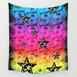Rainbow Toxic Stars Wall Tapestry
