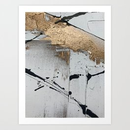 Still: an abstract mixed media piece in black, white, and gold by Alyssa Hamilton Art Art Print