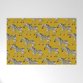 Zebra - zebra pattern, yellow, golden yellow, ochre, animals, nature, safari, zebra design, zebra curtains, zebra wall,  Welcome Mat