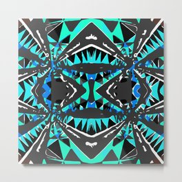 psychedelic geometric abstract pattern background in blue green black Metal Print