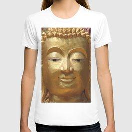 Buddha Head Illustration Design gold T-shirt
