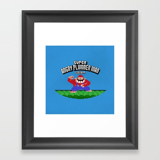 Super Angry Plumber Man Framed Art Print