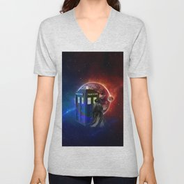 Tardis Dr Who of Nebula Unisex V-Neck