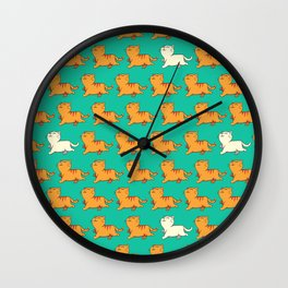 proud red cat pattern green Wall Clock