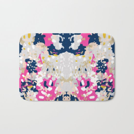 Michel - Abstract, girly, trendy art with pink, navy, blush, mustard for cell phones, dorm decor etc Bath Mat