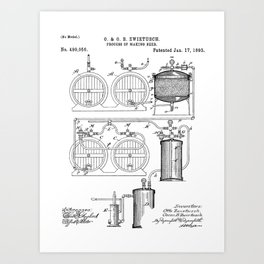 Brewery Patent - Beer Art - Black And White Art Print