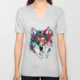 Wolf Face, Colorful Wolf Unisex V-Neck