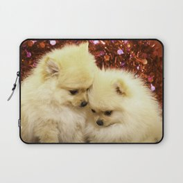 Two Pomeranian Puppies Snuggling Each Other in Front of a Red Heart Valentine's Day Background Laptop Sleeve