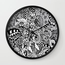 Mushroom madness black and white Wall Clock