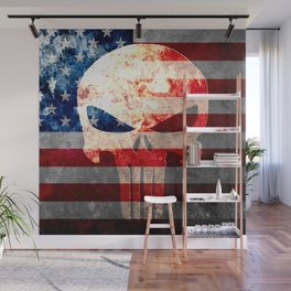 Skull and American Flag on Distressed Metal Wall Mural