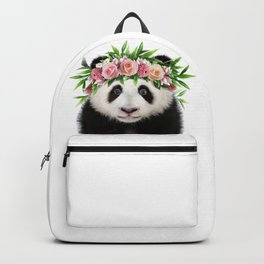 Baby Panda With Flower Crown, Baby Animals Art Print By Synplus Backpack