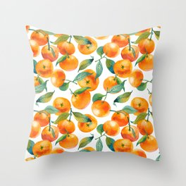 Mandarins With Leaves Throw Pillow