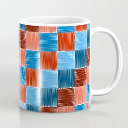 background squares blue red embroidery Coffee Mug