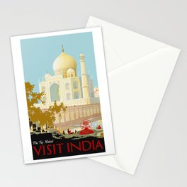 Visit India - Taj Mahal - Vintage Travel Poster Stationery Cards
