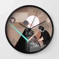 superheroes Wall Clocks featuring Superheroes SF by Natalie Nicklin