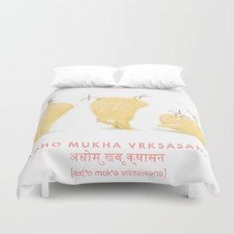 Adho Mukha Vrksasana Chicken Yoga Duvet Cover