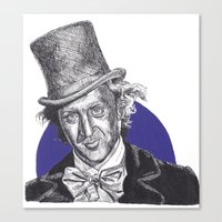 willy wonka Canvas Prints featuring Willy Wonka by Rachel Morgan Smith