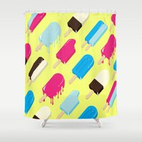 popsicle Shower Curtains featuring Popsicle by Sher Mavro ART