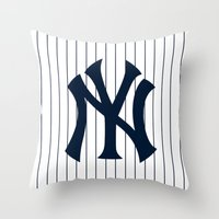 yankees Throw Pillows featuring Yankees MLB by Minimal Luck