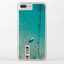 Caribbean Sea Blue Boat Drone Photo Clear iPhone Case