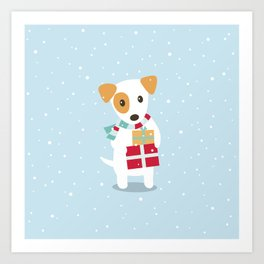 Cute Christmas dog holding a stack of gifts Art Print