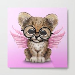 Cheetah Cub with Fairy Wings Wearing Glasses on Pink Metal Print