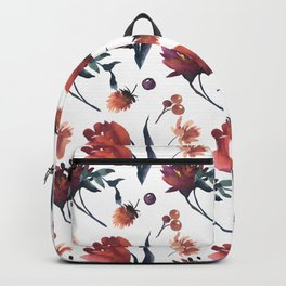 Artistic hand painted orange purple floral tulips pattern Backpack
