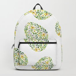 Artistic hand painted yellow green watercolor floral easter eggs Backpack
