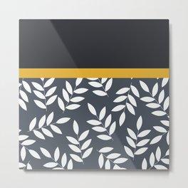 Leaves Pattern in Black Grey nad Yellow Metal Print