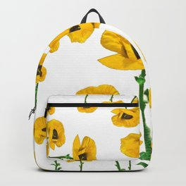 YELLOW POPPIES FLOWER ON WHITE Backpack