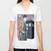 david tennant V-neck T-shirts featuring Doctor Who - David Tennant by Averagejoeart
