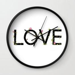 LOVE in bloom Wall Clock