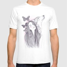 Wolf To The Moon MEDIUM Mens Fitted Tee White