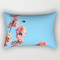 Pink flowers With Bee Rectangular Pillow