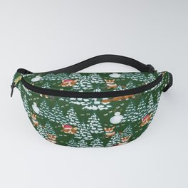 Corgis in the winter mountains - green pattern Fanny Pack