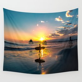 Surf City USA - Little Surfer Girl Wall Tapestry