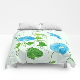 blue morning glory Comforters