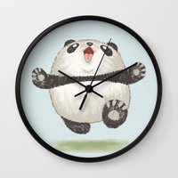 panda Wall Clocks featuring Panda by Toru Sanogawa