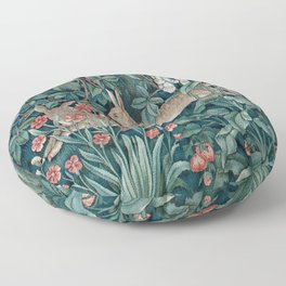 William Morris Forest Rabbits and Foxglove Floor Pillow