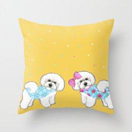 Bichon Frise Holidays yellow cute dogs, Christmas gift, holiday gift, birthday gift, dog, Bijon Throw Pillow