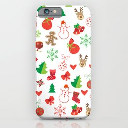 Happy New Year and Christmas Symbols Decoration iPhone Case