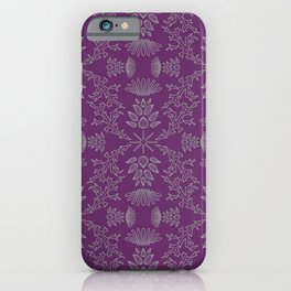 Thistle Outline on Purple iPhone Case