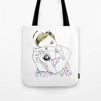 photographer Tote Bags featuring Photographer by Diana Arend
