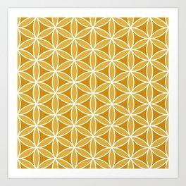 Flower of Life Pattern Oranges & White Art Print