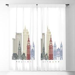 Amsterdam skyline poster Blackout Curtain