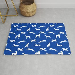 Greyhound Silhouettes White on Blue Rug