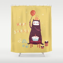 Happy birthday purple monster! Shower Curtain