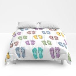 Happy coloured flip flops summer vibes Comforters