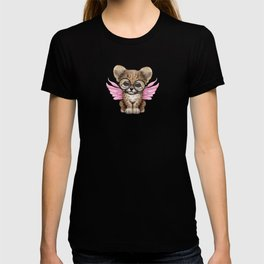 Cheetah Cub with Fairy Wings Wearing Glasses on Pink T-shirt